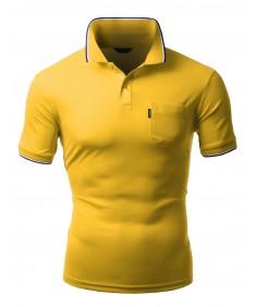Men's Coolon Fabric Short Sleeve Pocket Point Polo T-Shirt