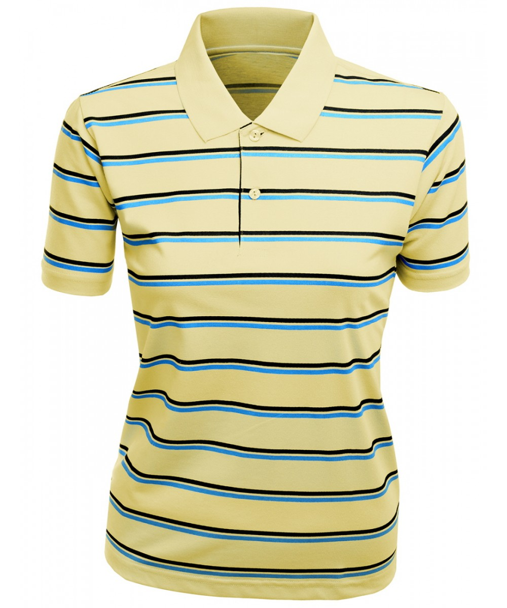 Women casual golf tc silket striped dri fit collar polo for Dri fit collar shirts