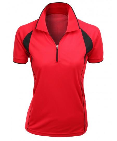 Women's Coolmax Fabric Sporty Feel Functional Short Sleeve Polo T-Shirt