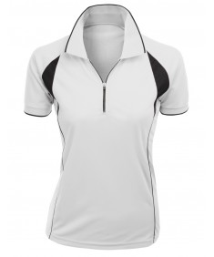 Women's Coolmax Fabric Sporty Feel Functional Short Sleeve Polo T-Shirt