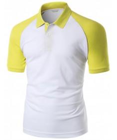 Men's 180-200 Tc Luxurious Pique Raglan Short Sleeve Polo T Shirt