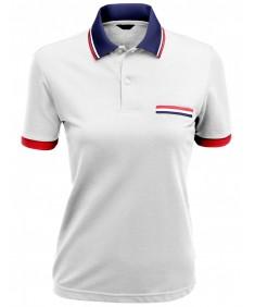 Women's Color Effect Collar Short Sleeve Polo T Shirt