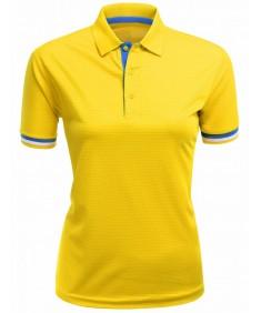 Women's Knit Jaquard Collar Short Sleeve Polo T Shirt