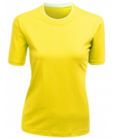 Women's Colorful 2 Tone Collar Round Neck Short Sleeve T Shirt
