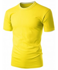 Men's Colorful 2 Tone Collar Round Neck Short Sleeve T Shirt
