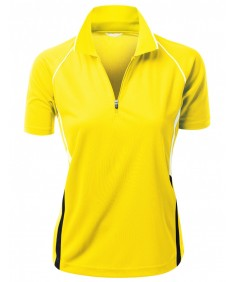 Women's Coolmax 2 Tone Collar Short Sleeve Zipper Polo Tee
