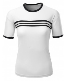 Women's Coolmax Fabric Roundneck Short Sleeve T Shirt With Stripes