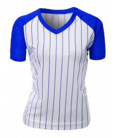 Women's Casual Cool Max Striped Short Sleeve Baseball V-Neck T-Shirt