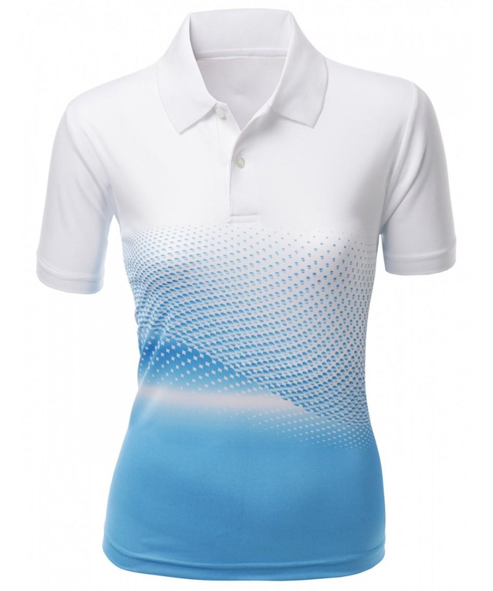 Cool Max Fabric Sporty Design Printed Polo T-Shirt - FashionOutfit.com