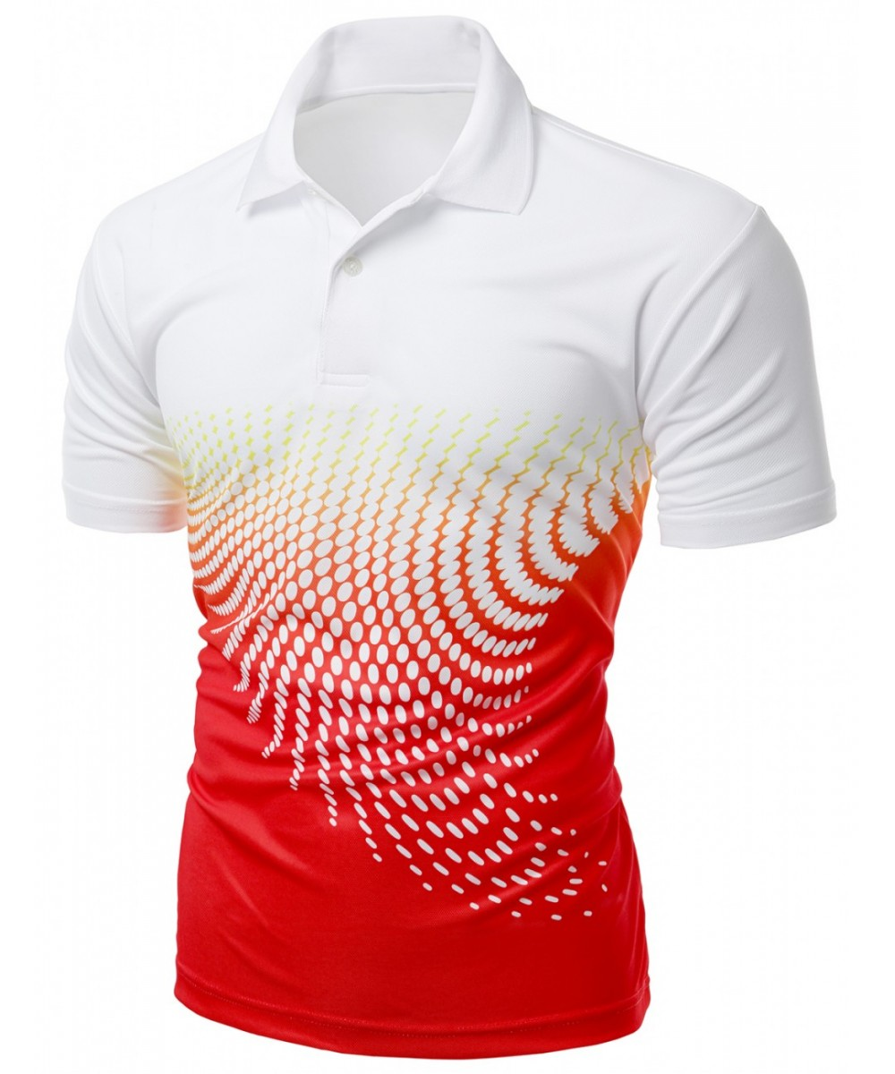 90740069 Cool Max Fabric Sporty Design Printed Polo T-Shirt - FashionOutfit.com