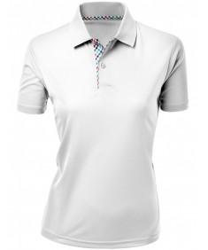 Women's Cool Max Fabric Sporty Design 2 Tone Plaid Collar T-Shirt