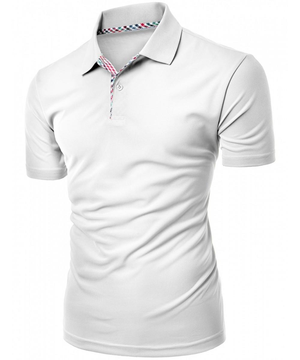 Mens Cool Max Fabric Sporty Design 2 Tone Plaid Collar T Shirt