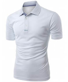 Men's Daily Casual Wear Twisting Jacquard Polo Collar T-Shirt