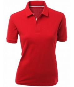 Women's Cotton 2 Tone Collar Short Sleeve T-Shirt