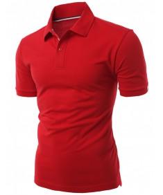 Men's Daily Casual Wear 20X20 Cotton 2 Tone Collar T Shirt