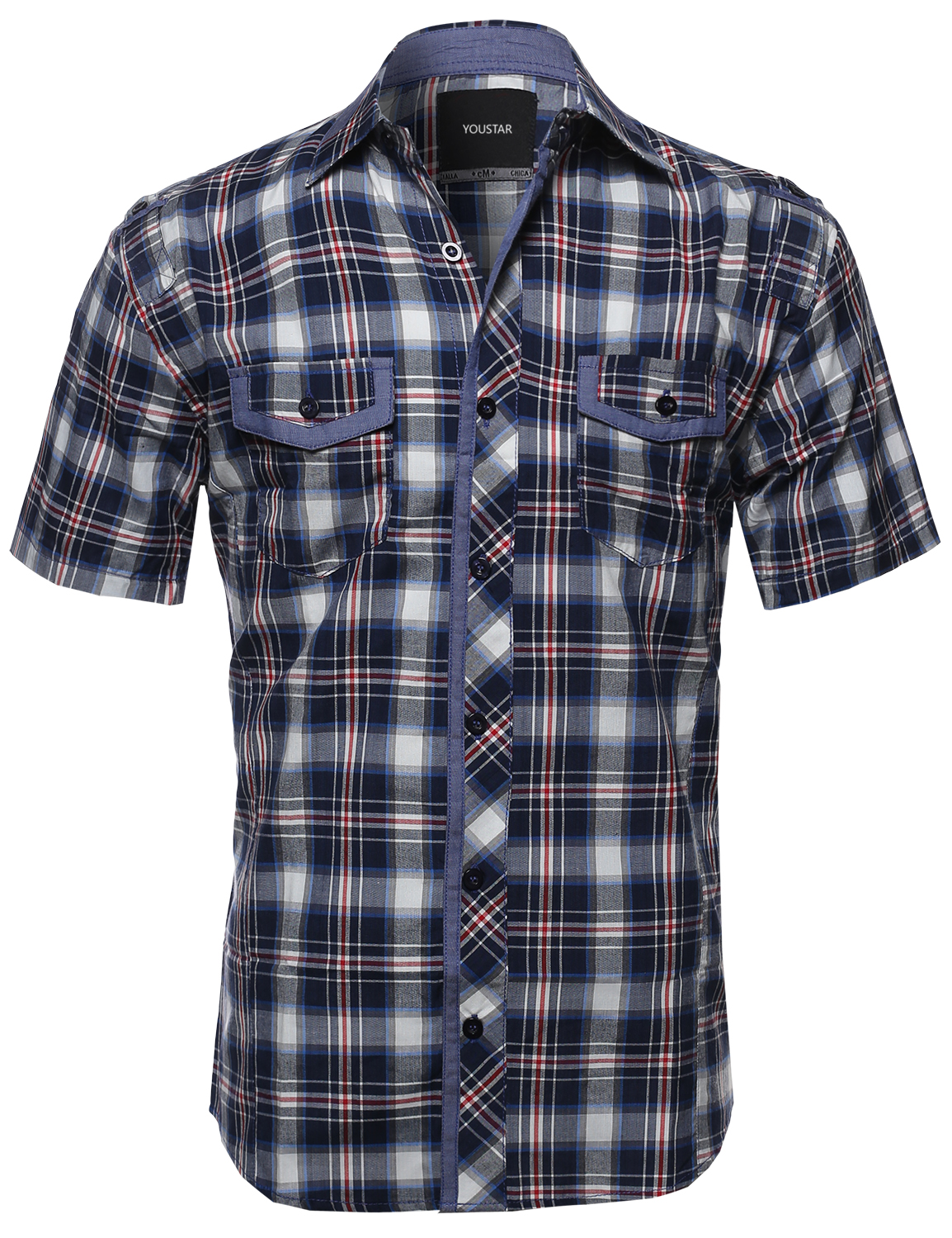 Fashionoutfit men 39 s casual short sleeve cotton plaid for Women s short sleeve button down cotton shirts