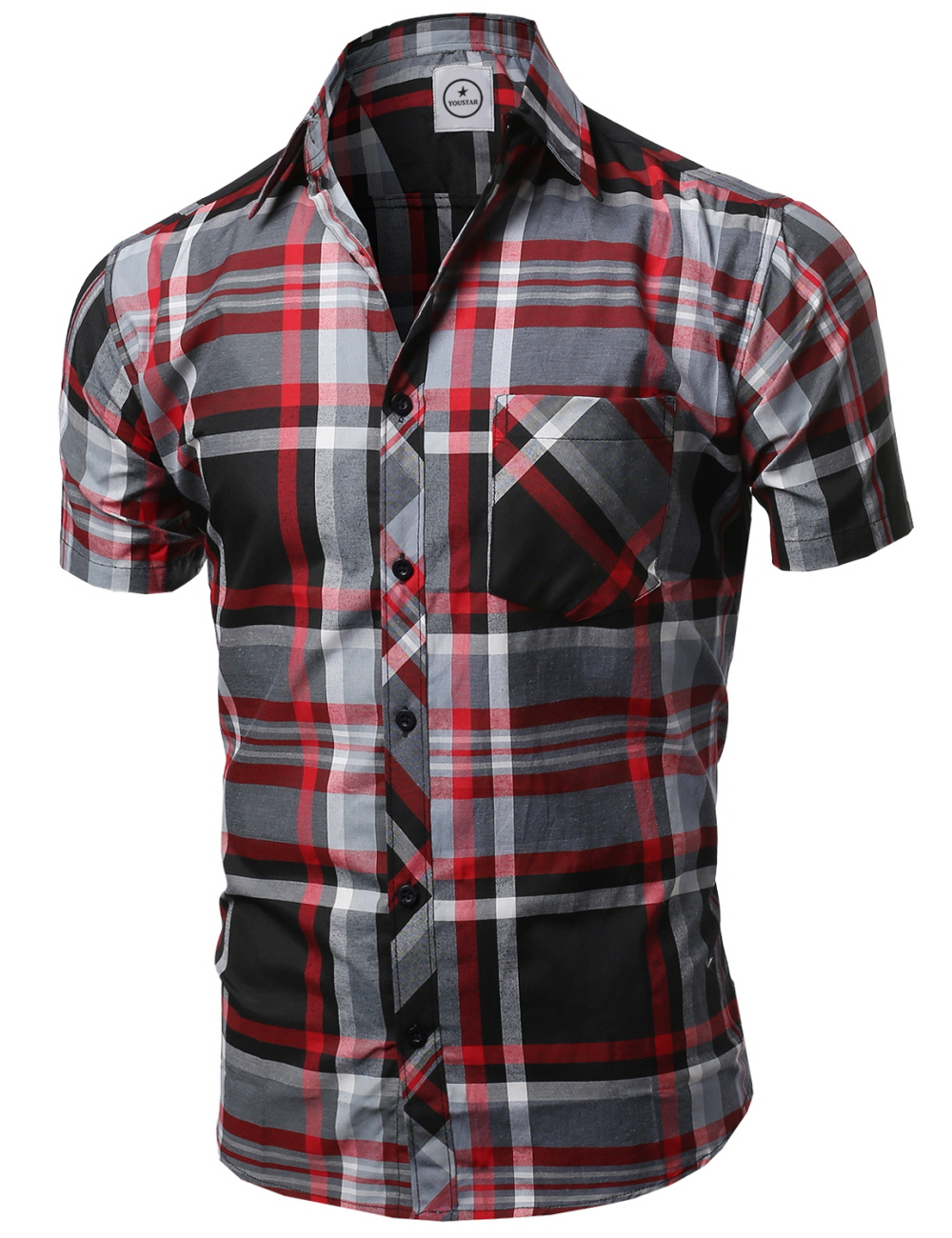 Fashionoutfit men 39 s casual short sleeve collar buttondown Short sleeve plaid shirts