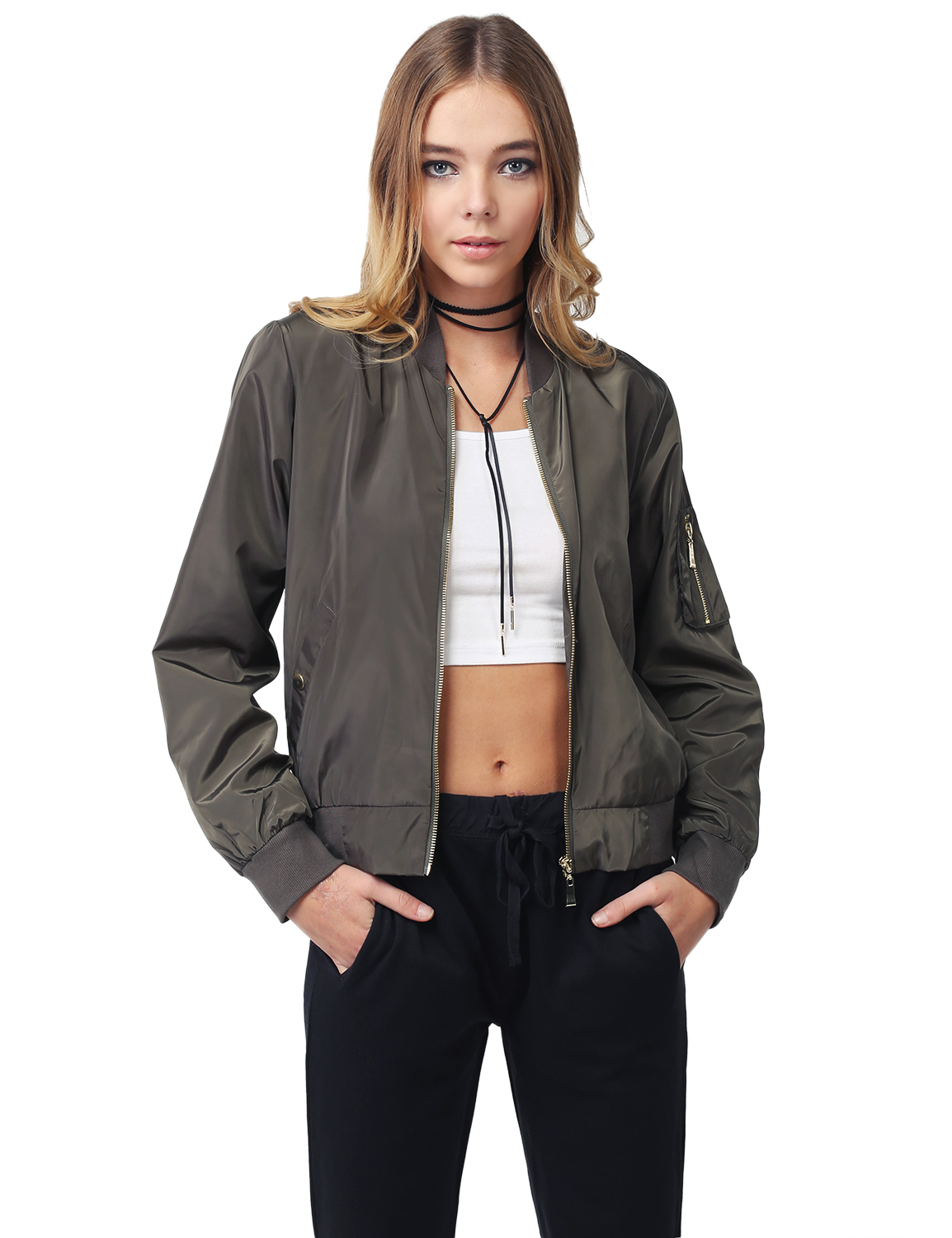 e7af937d1 Details about FashionOutfit Women's Solid Long Sleeves Zipper Pocket Army  Flight Bomber Jacket