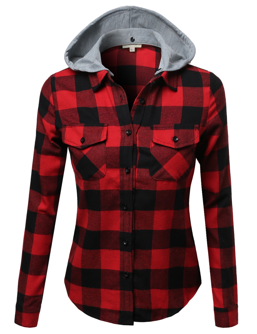 Fashionoutfit women 39 s casual soft plaid check detachable for Super soft flannel shirts