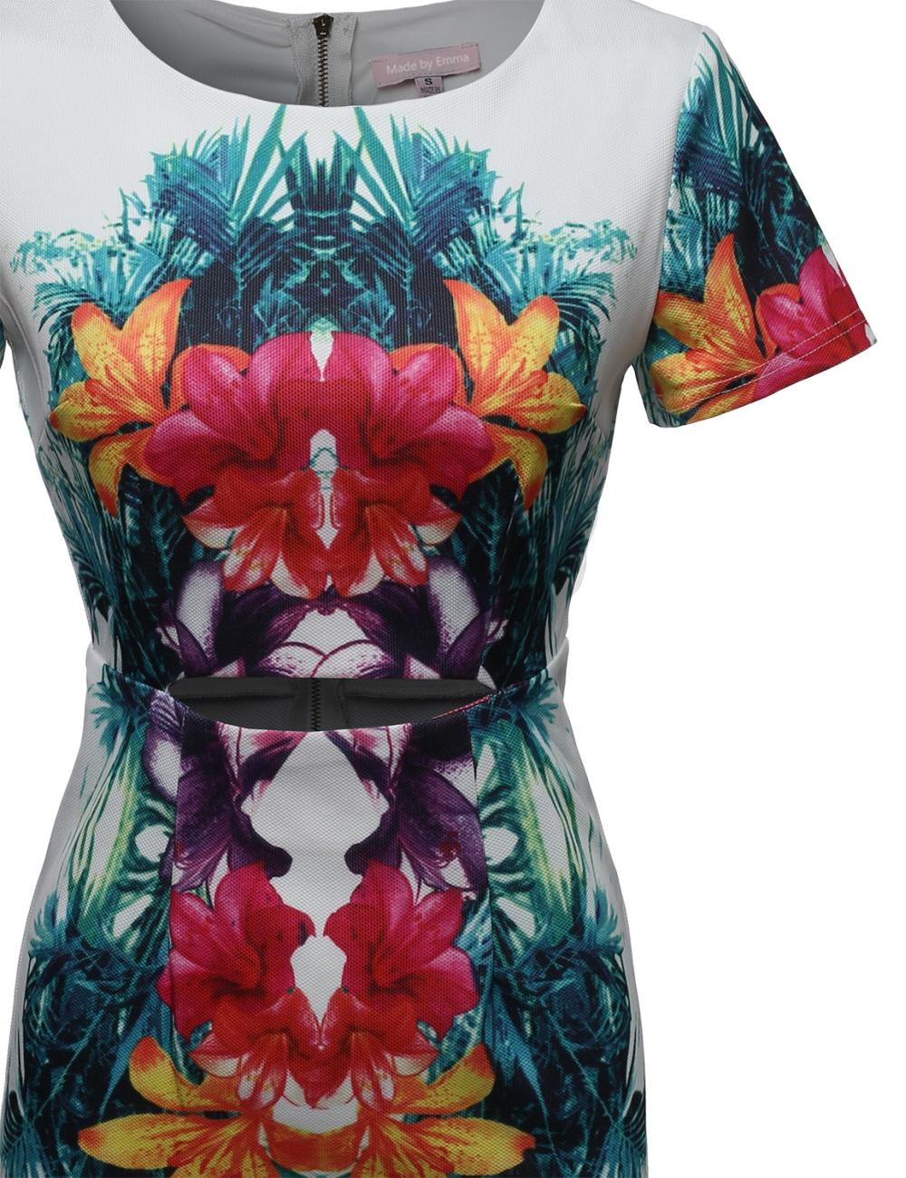 FashionOutfit Women/'s Short Sleeve Waist Cut Out Floral Tropical Cocktail Dress